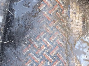 Roman mosaic, found in a Roman Villa which was discovered by home owner Luke Irwin