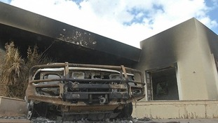 Burnt out car in Benghazi.