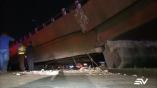 An overpass buckled in the city of Guayaquil, crushing a car.