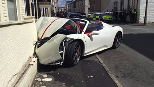 The smashed ferrari