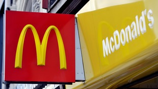 A shop sign for McDonald's in central London
