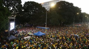 Brazil's gather to watch the voting