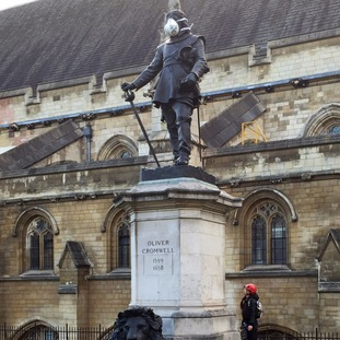 Oliver Cromwell's statue at the Houses of Parliament was among the tragets