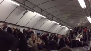 Commuters ignore instructions to stand on both sides of escalator