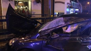 Lucky escape after car smashes into railings yards from pub