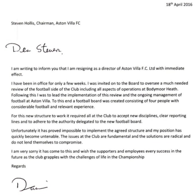 Bernsteins and kings resignation letter in full central itv news earlier this afternoon the club thanked the pair for their efforts throughout their short time as members of the board they also revealed that chairman altavistaventures Images