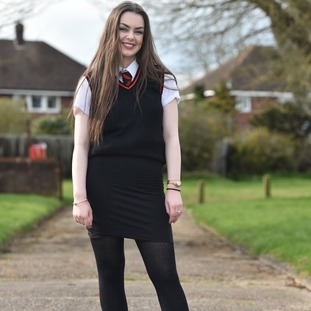 Chloe Hirst, 16, was sent home from the Lord Grey School in Bletchley, Buckinghamshire for 'inappropriate uniform'