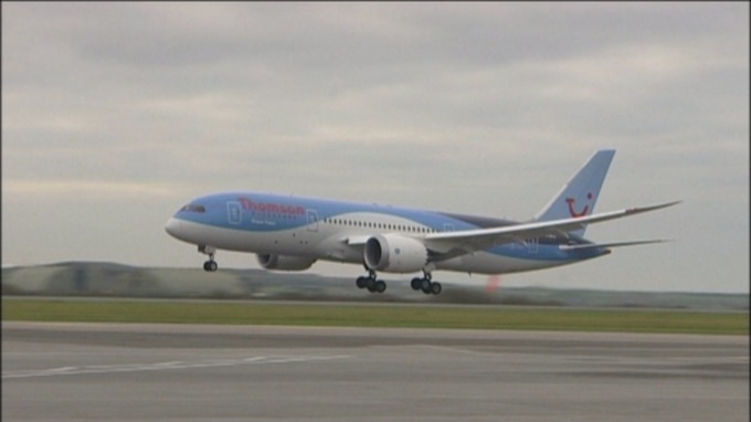 A Thompson Boeing 787 will arrive at Bristol airport