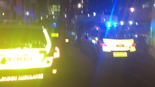 Emergency services near the scene of the shooting