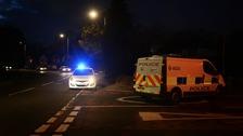 Police at the scene last night