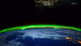 The video shows the Northern Lights from space.