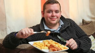 26-year-old Daniel Pennock has sausage and chips for his evening meal every day