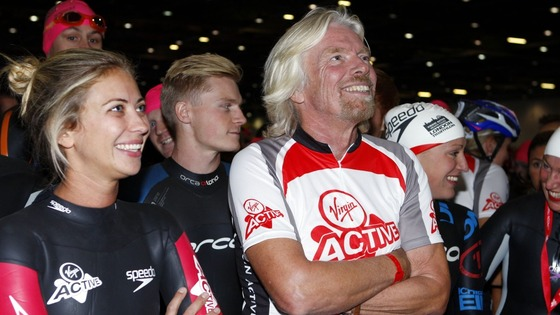 Sir Richard Branson and his daughter Holly (left) at today&#x27;s Virgin Active London Triathlon.