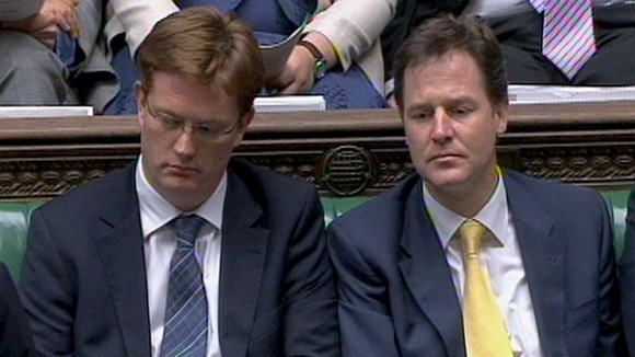 Alexander (left) with Lib Dem leader Nick Clegg, who vowed to play hardball with David Cameron over the future of the coalition on Saturday.