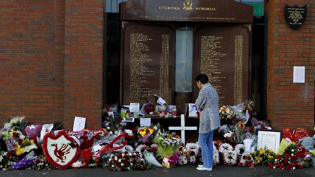Tributes left at the Hillsborough Memorial outside Liverpool Football Club.