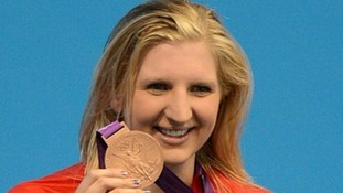 Rebecca Adlington on the podium at London 2012