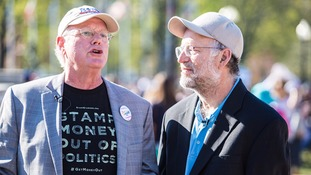 Ben Cohen and Jerry Greenfield at the protest.