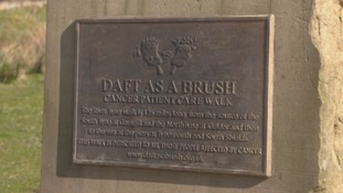 Plaque marking the start of the Daft as a Brush Cancer Patient Care Walk