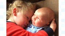 Twin bothers Oliver and Isaac.