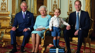 Prince Charles, the Queen, Prince George and Prince William