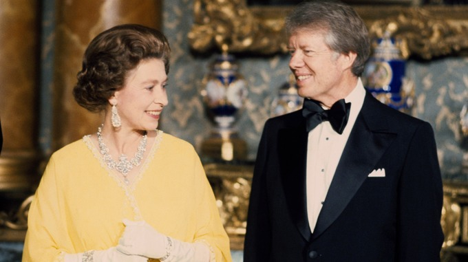 Queen Elizabeth II with US President Jimmy Carter at a State Dinner at Buckingham Palace in London.