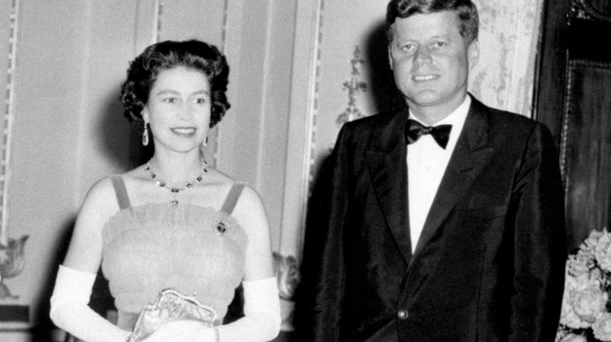 Queen Elizabeth II with US President John Kennedy at Buckingham Palace in London.