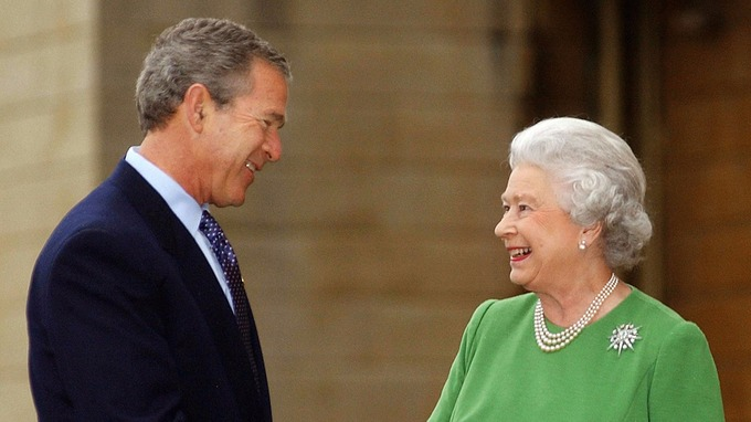 US President George Bush with Queen Elizabeth II at Buckingham Palace in London.