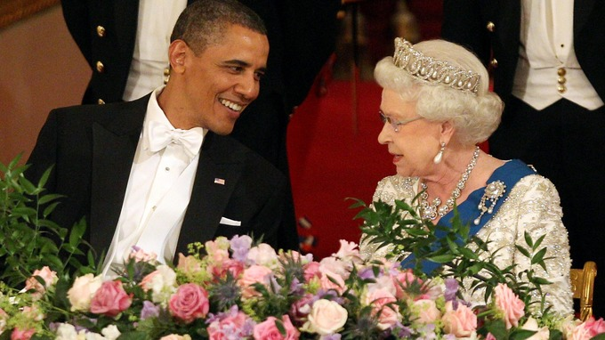 US President Barack Obama and Queen Elizabeth II during a State Banquet in Buckingham Palace in London.
