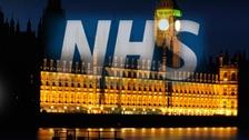 NHS Logo over Westminster