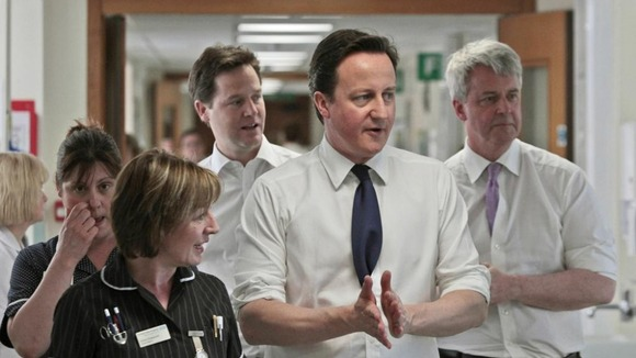 Lansley, Cameron and Clegg in a hospital.