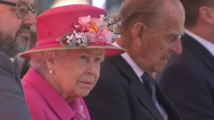 The Queen and the Duke of Edinburgh watching the choir's performance