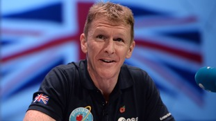 Astronaut Tim Peake answering questions ahead of running a space marathon
