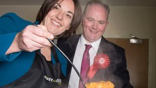 Scottish Labour leader Kezia Dugdale and Paul Martin serve soup during their visit to Daffodil pensioners club