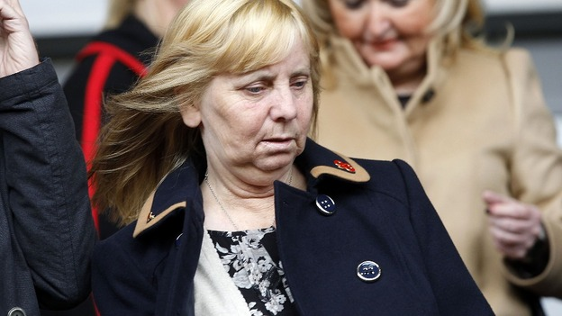 Chairwoman of the Hillsborough Family Support Group Margaret Aspinall in the stands prior to kick-off of the match at Anfield, Liverpool.