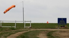 Parachute landing area at Sibson Aerodrome, near Peterborough, Cambridgeshire.