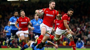 George North in action for Wales in the Six Nations.