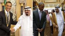 President Obama and Saudi King Abdullah in 2009 and King Salman in 2016