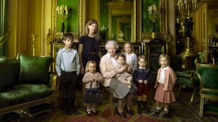Queen Elizabeth and her young relatives.