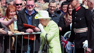 The Queen did a walk-about to meet fans outside Windsor Castle