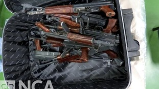 Some of the guns were found in a suitcase