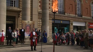 The beacon in Peterborough was the first in the region to be lit.