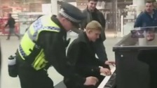 Piano player video goes viral as police join in the jam.