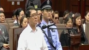 Former Chinese police chief Wang Lijuan speaking during a court hearing in Chengdu.