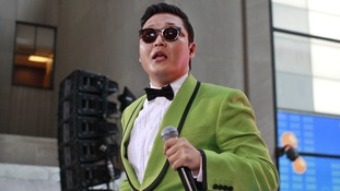 Music star Psy pictured performing in New York earlier this month.