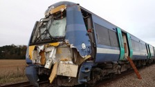The damaged train