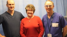 Dr Simon James, consultant cardiologist, Joan Smith and Dr  Andrew Turley, consultant cardiologist.