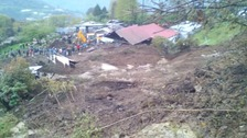 The mudslide hit a construction site in north-east India.