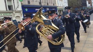 Airmen march through Lincoln for centenary parade