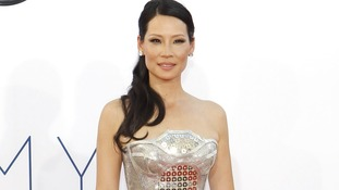 Lucy Liu arrives for the Emmy Awards