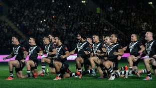 New Zealand's Rugby League team performing the Haka